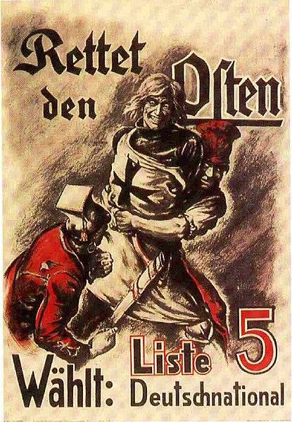 Propagande nazie anti-polonaise de 1920. Un chevalier teutonique contre un Polonais et un socialiste.